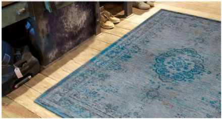 Louis De Poortere Fading World Collection Rug - Medallion Grey Turquoise 8255